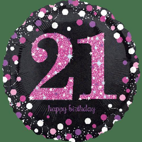 Pink Celebration 21 Holographic Foil Balloon