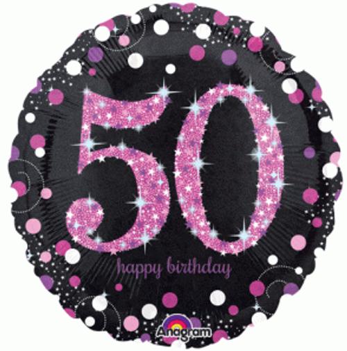 Pink Celebration 50 Holographic Foil Balloon