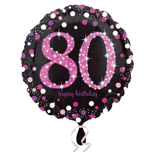 Pink Celebration 80 Holographic Foil Balloon