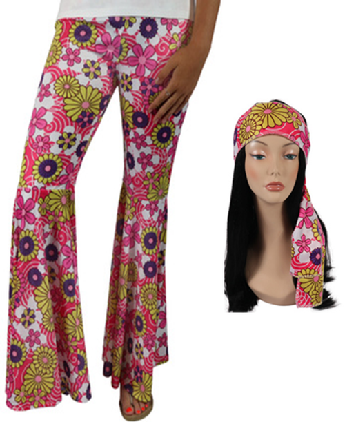 Hippie Bell Bottoms with Headband - Pink