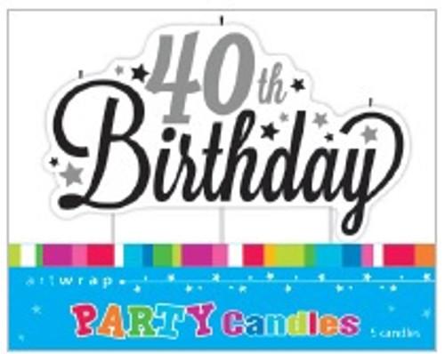 40th Birthday Script Candle