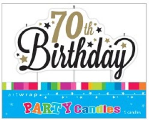 70th Birthday Script Candle