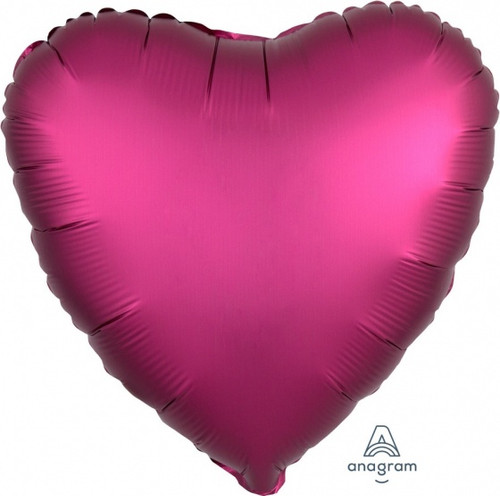 Heart Satin Luxe Pomegranate Pink Foil Balloon