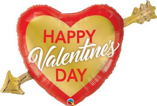 Valentine's Golden Arrow Supershape Foil Balloon