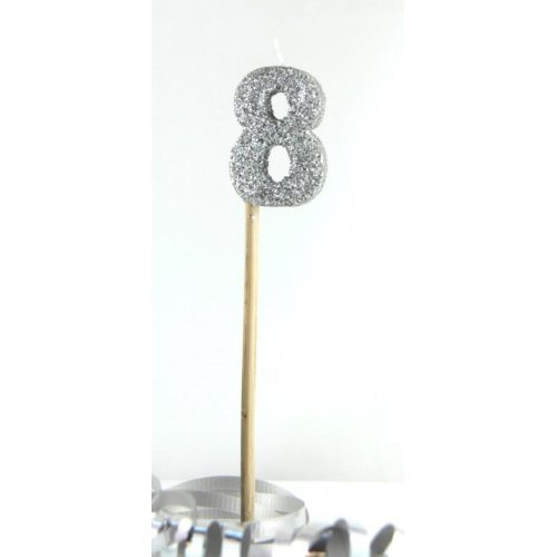 Silver Glitter Long Stick Candle #8