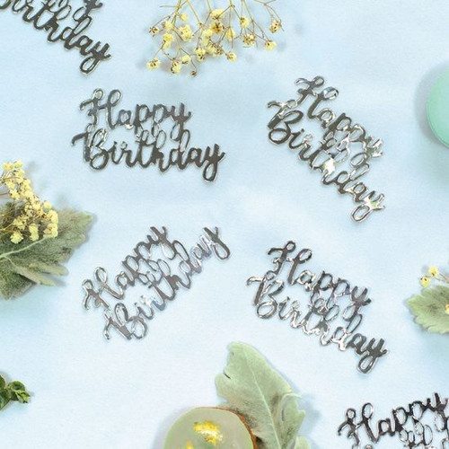 """Silver Jumbo Paper Scatters """"Happy Birthday"""""""