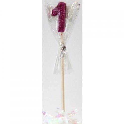 Pink Glitter Long Stick Candle #1