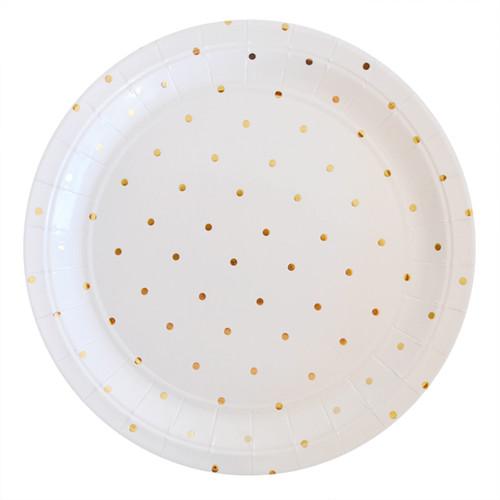 Gold Dot Dessert Plate