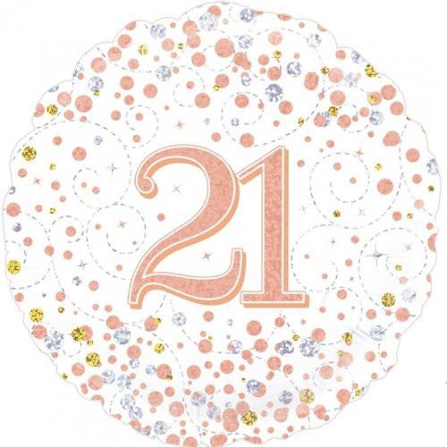 Sparkling Fizz Rose Gold 21 Foil Balloon