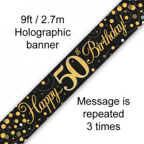 Sparkling Fizz Black and Gold 50th Birthday Banner