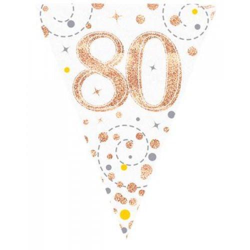 Sparkling Fizz Rose Gold 80th Birthday Bunting
