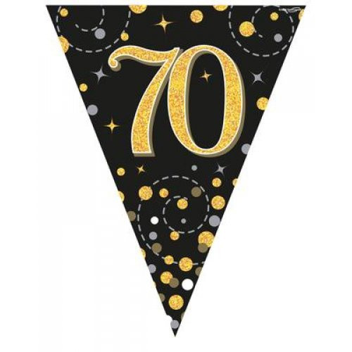 Sparkling Fizz Black and Gold 70th Birthday Bunting