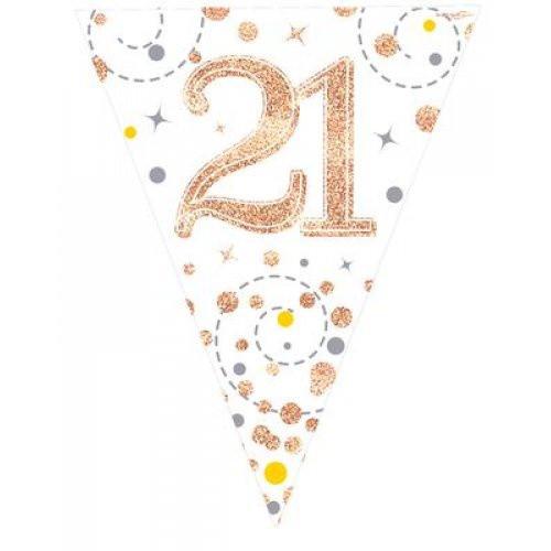 Sparkling Fizz Rose Gold 21st Birthday Bunting