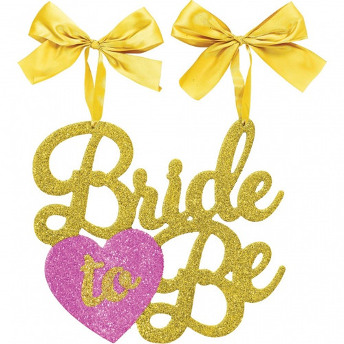 Bride to Be Gold and Pink Glittered Hanging Sign