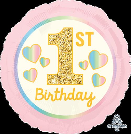 1st Birthday Girl Pink & Gold Foil Balloon