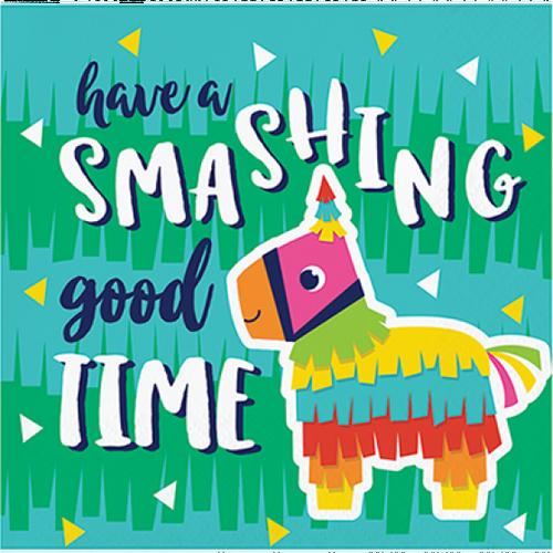 """Fiesta Fun Beverage Paper Napkins """"Have a Smashing Good Time"""""""