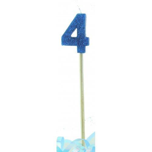 Blue Glitter Long Stick Candle #4