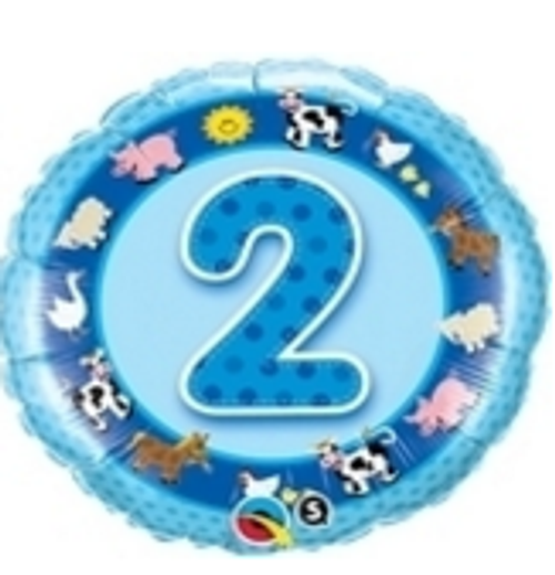 Age 2 Blue Farm Animals Foil Balloon
