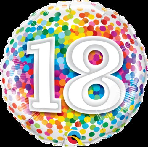 18 Rainbow Confetti Foil Balloon