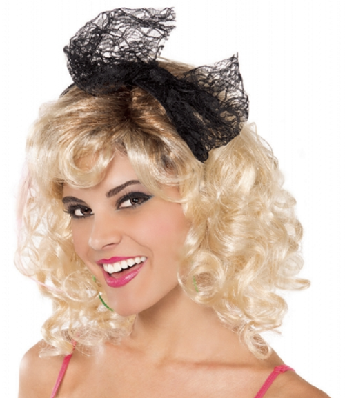 80's Headband Black Lace with Bow