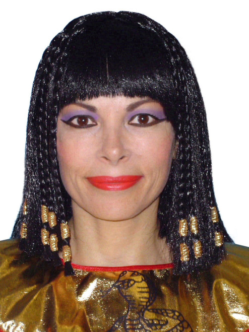 Cleopatra Wig with Braids and Gold Trim