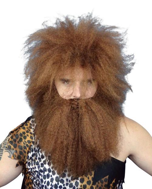 Caveman Wig & Beard Set BROWN