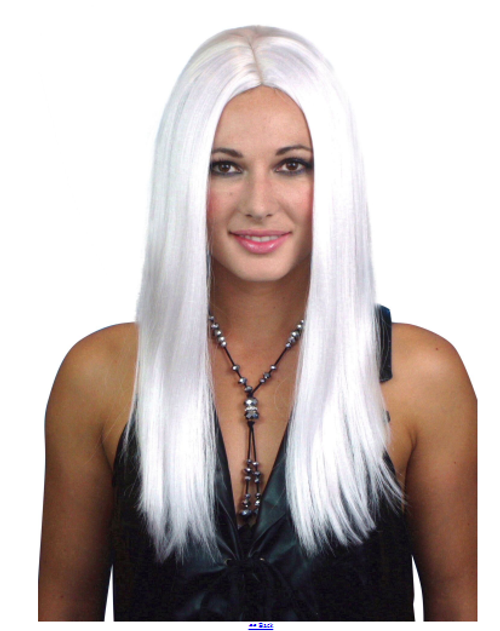 Long White Wig with Center Part