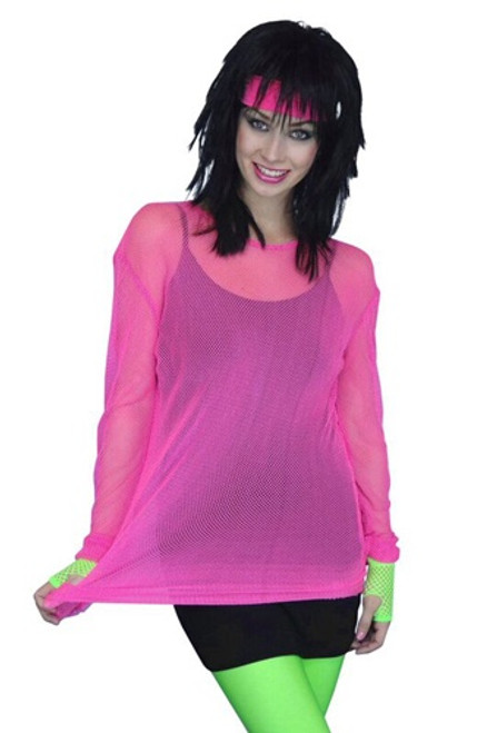 80's Mesh Top - Fluro Pink