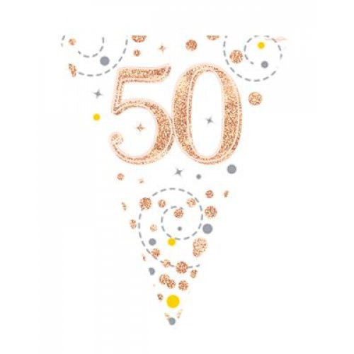 Sparkling Fizz Rose Gold 50th Birthday Bunting