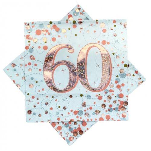 Sparkling Fizz Rose Gold 60th Birthday Napkins