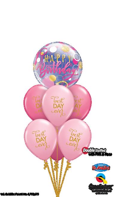 Pink and Gold Birthday - Birthday Balloon Arrangement