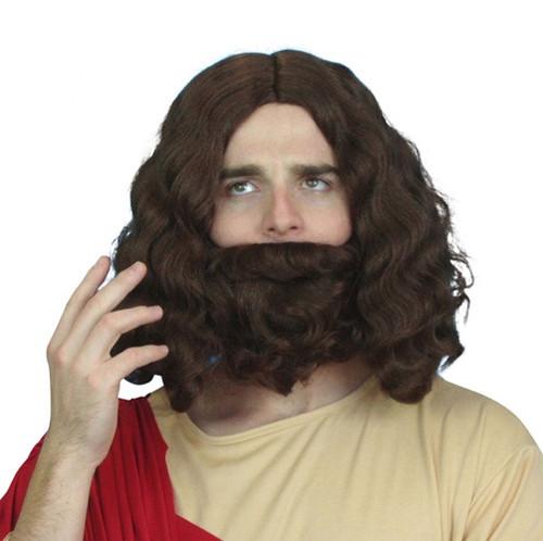 Holyman Jesus Wig & Beard Set - Brown
