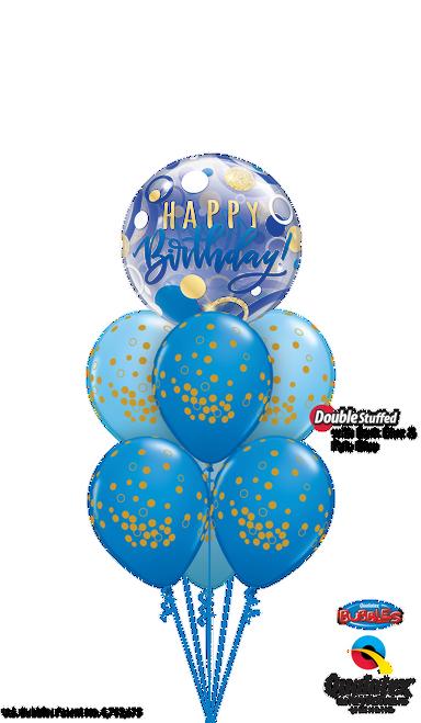 Blue and Gold Birthday - Birthday Balloon Arrangement
