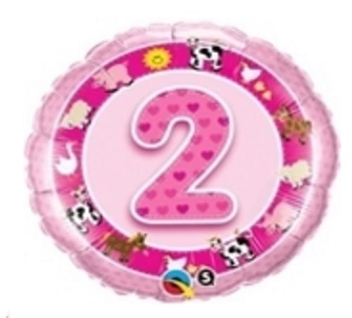 Age 2 Pink Farm Animals Foil Balloon