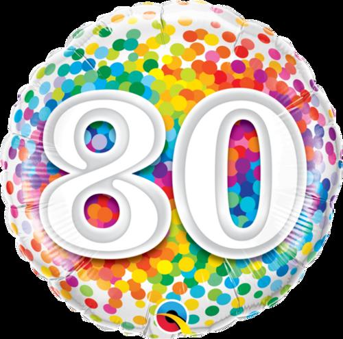 80 Rainbow Confetti Foil Balloon