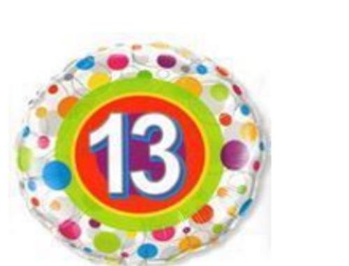 Colourful Dots Age 13 Foil Balloon