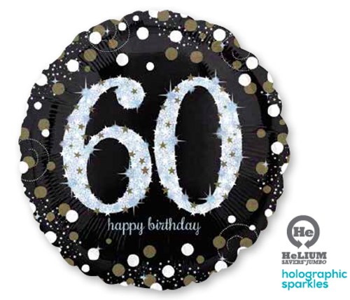 Sparkling Birthday 60 Jumbo Holographic Foil Balloon