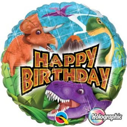 Birthday Dinosaurs Holographic Foil Balloon