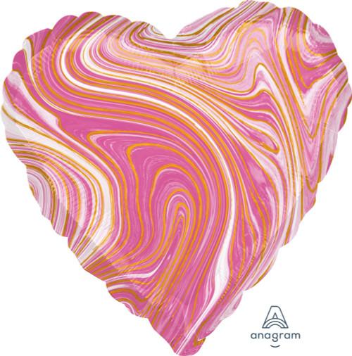 Heart Foil Balloon Marblez Pink