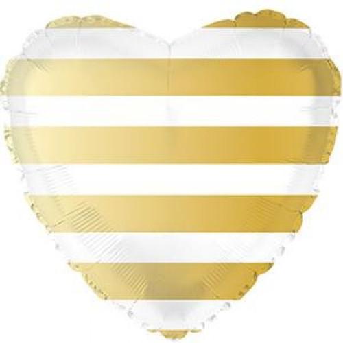 Gold Stripe Heart Foil Balloon