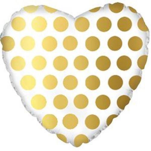 Gold Polka Dot Heart Foil Balloon