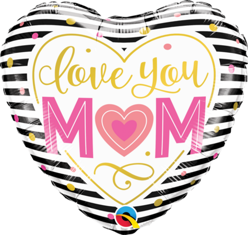 Love You Mum Heart Stripes Foil Balloon