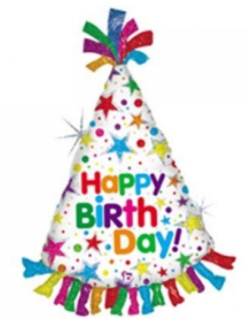 Happy Birthday Hat Supershape Foil Balloon