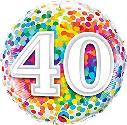 40 Rainbow Confetti Foil Balloon