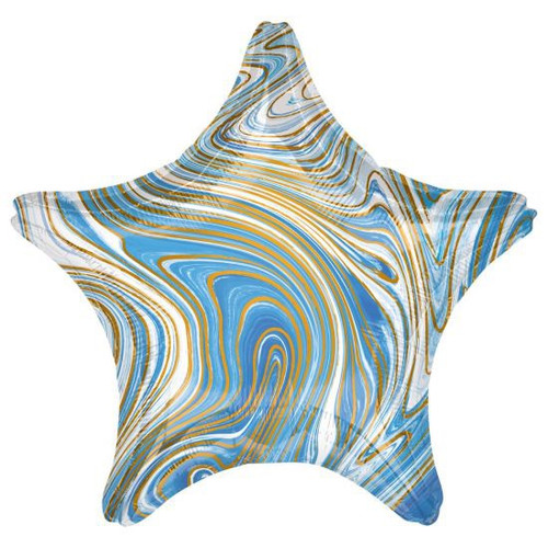 Star Foil Balloon Marblz Blue