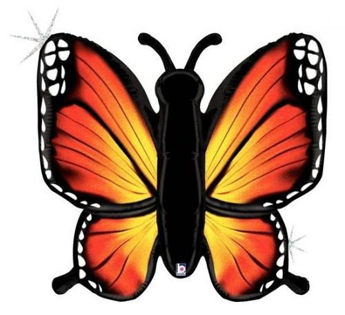 Radiant Butterfly Orange Supershape Foil Balloon