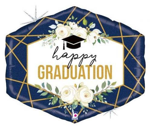 Geo Navy Graduation Supershape Foil Balloon