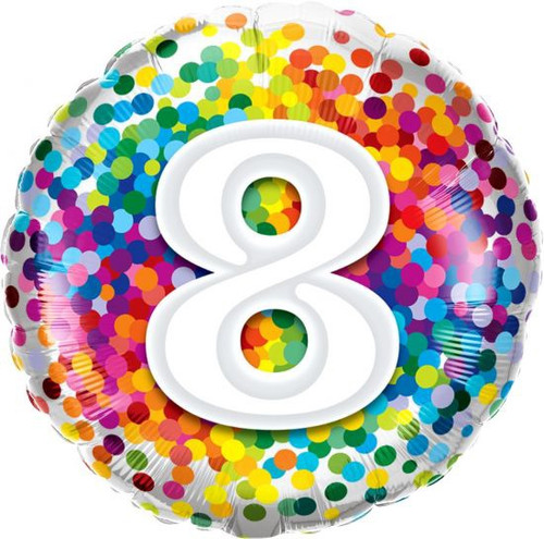 8 Rainbow Confetti Foil Balloon