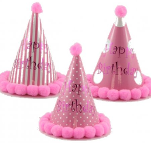 Pom Pom Party Hat Pink