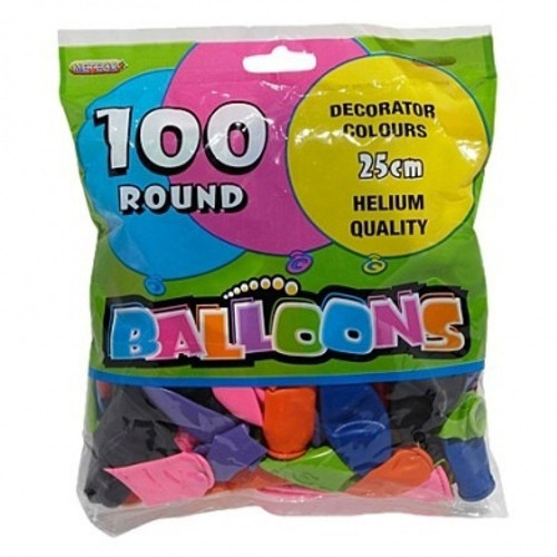 25cm Balloon Party Pack - 100 Pack